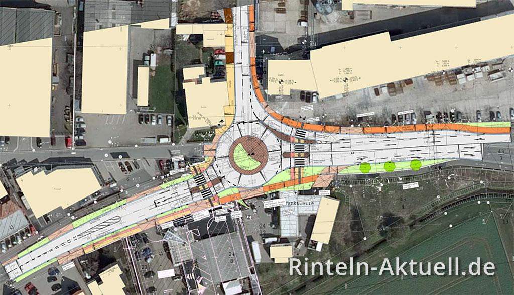 Der Blick auf den Bauplan zeigt die Verkehrsführung inklusive Fahrspuren im fertigen Kreisel. (Foto: Stadt Rinteln)