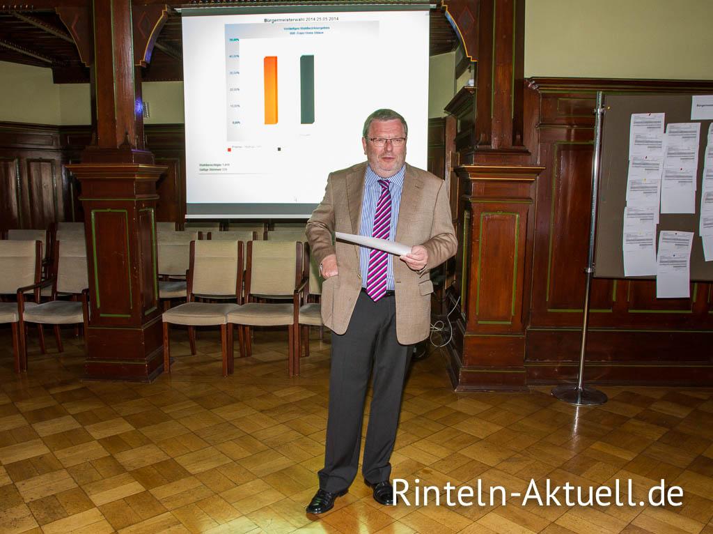 Rintelns amtierender Bürgermeister Karl-Heinz Buchholz gibt die Ergebnisse der Bürgermeisterwahl 2014 bekannt.