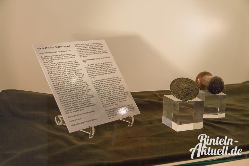 Rintelner Siegelstempel aus verschiedenen Epochen.
