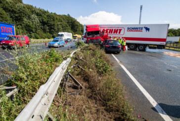 LKW übersieht PKW im Regen: Schwerer Unfall auf der A2 nahe Veltheim