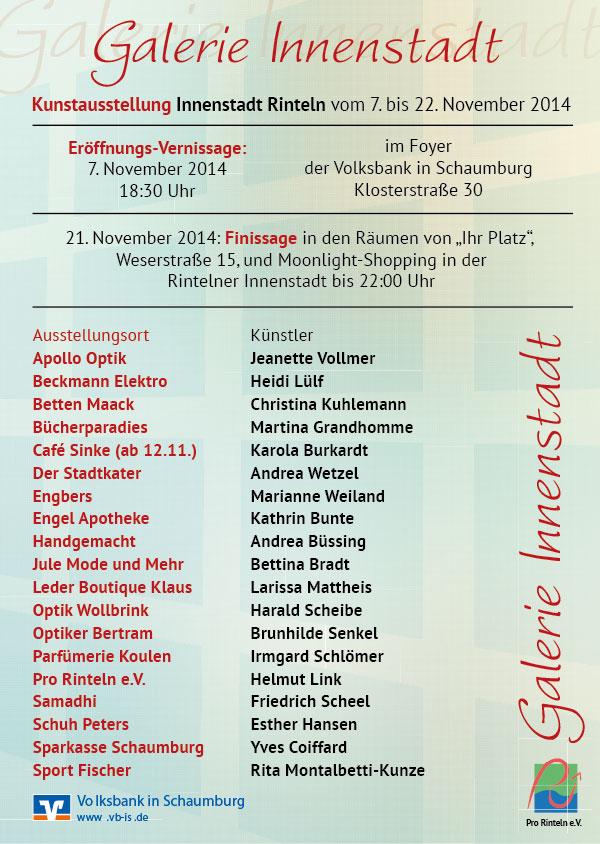 Die Liste der teilnehmenden Künstler und Geschäfte in der Rintelner Innenstadt.