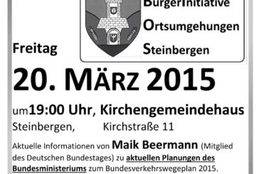 Bürgerinitiative Ortsumgehungen Steinbergen lädt zu zweiter Infoveranstaltung