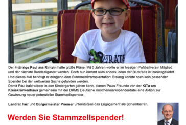 Stammzellen-Spender für Paul (4) gesucht: DKMS Registrierungsaktion am 19.07.2015 in Todenmann