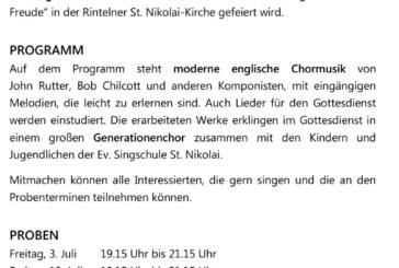 Schaumburger Oratorienchor: Einladung zum Schnupperprojekt