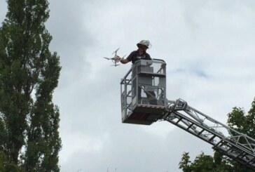 Feuerwehr Rinteln rettet Kamera-Drohne aus Baum am Weseranger