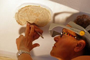 Restauratorin legt 400 Jahre alte Stuckverzierung im Museum Eulenburg frei