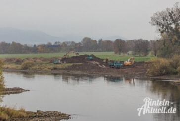 Bagger tragen Erdreich für Auenlandschaft an der Weser ab