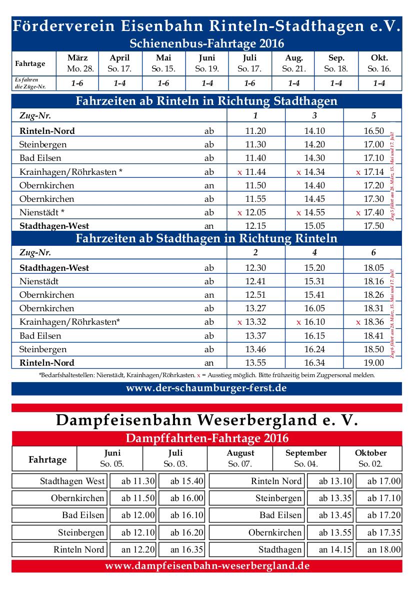 Der Fahrplan des Fördervereins für 2016.