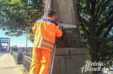 Reinigungsarbeiten an der Weserbrücke