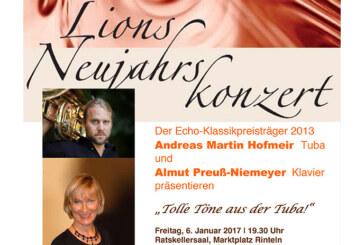 """""""Tolle Töne aus der Tuba!"""": Lions Neujahrskonzert mit Andreas Martin Hofmeir und Almut Preuß-Niemeyer"""