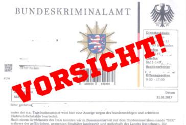 Achtung! Polizei warnt vor falschen BKA-Schreiben in Rinteln