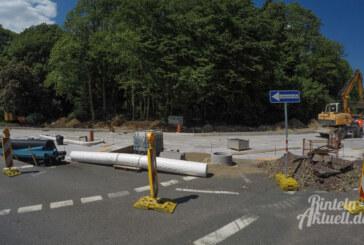 Kreuzungsbaustelle Steinbergen: Beton kommt in der nächsten Woche