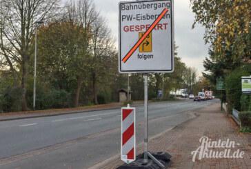 Eisbergen: Bahnübergang an Weserstraße eine Woche voll gesperrt