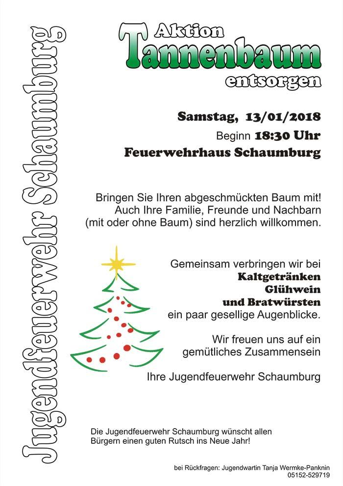 Tannenbaum Wegwerfen.Aktion Tannenbaum Entsorgen Am Feuerwehrhaus Schaumburg