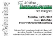 """""""Aktion Tannenbaum entsorgen"""" am Feuerwehrhaus Schaumburg"""
