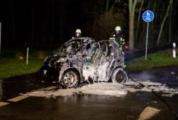 Veltheim: Feuerwehr löscht brennenden Smart
