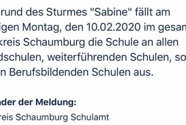 "Sturm ""Sabine"": Schulausfall im Landkreis Schaumburg"