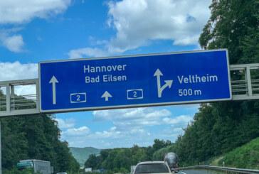 Verkehrsbehinderungen auf A2 bei Veltheim Richtung Hannover
