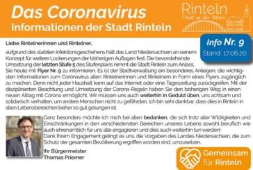 Stadt Rinteln veröffentlicht Flyer Nr. 9 / Hinweise und Empfehlungen zum Thema Corona-Virus