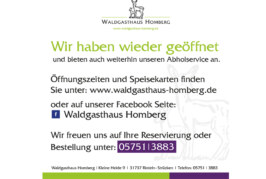 Waldgasthaus Homberg wieder geöffnet, Abholservice bleibt bestehen