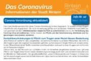 Stadt Rinteln veröffentlicht Corona-Flyer Nr. 10 / Aktuelle Verordnung, Hinweise und Empfehlungen