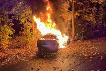 Zwei Verletzte nach Unfall auf der Waldkaterallee: Feuerwehr löscht brennendes Auto