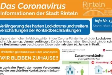Stadt Rinteln veröffentlicht Corona-Flyer Nr. 13 / Thema Lockdown-Verlängerung und Impfung