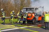 Brand eines Kleintransporters auf der A2 bei Porta Westfalica