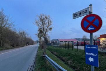 Teil der Röntgenstraße wegen Bauarbeiten für Pizzakarton-Fabrik gesperrt