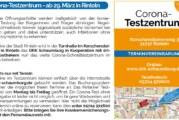 Stadt Rinteln veröffentlicht Corona-Flyer Nr. 15 / Thema Testzentrum und Lockdown