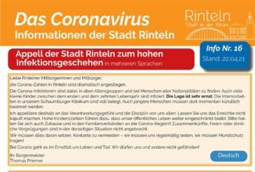 Stadt Rinteln veröffentlicht Corona-Flyer Nr. 16 / Mehrsprachiger Appell des Bürgermeisters