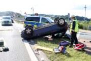 Auto überschlägt sich auf der Portabrücke in Barkhausen