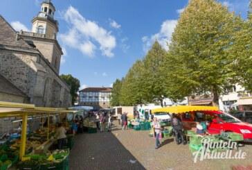 Infostand und Bücherflohmarkt der Stadtbücherei Rinteln auf dem Wochenmarkt